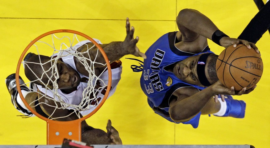 Dallas Mavericks' Haywood goes up for a shot against the Miami Heat's Anthony during the first half in Game 2 of the NBA Finals basketball series in Miami