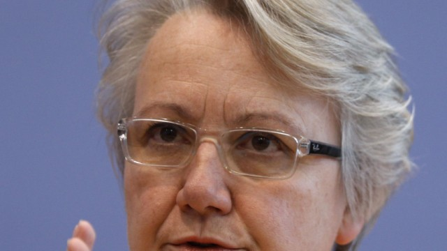 Education Minister Annette Schavan speaks during a news conference in Berlin