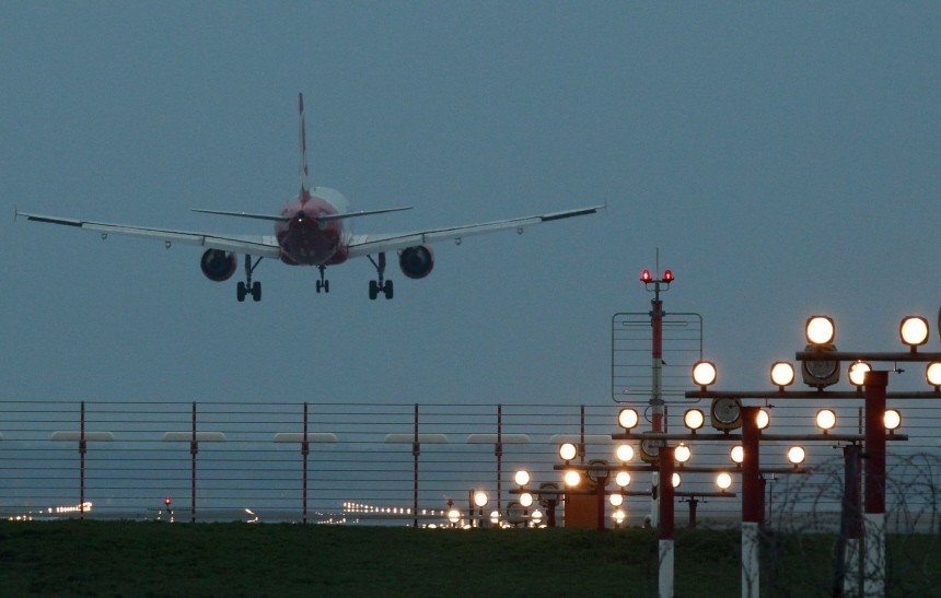 An Air Berlin plane lands at Tegel airport in Berlin after it was partly opened to traffic