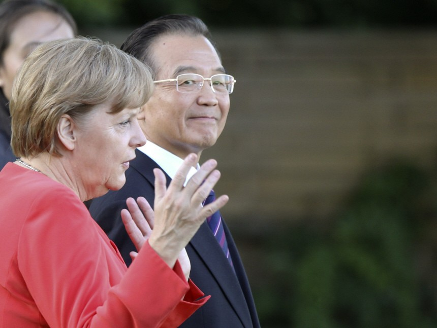 Bundeskanzlerin Angela Merkel talks to China Premier Jiabao Villa Liebermann Wannsee