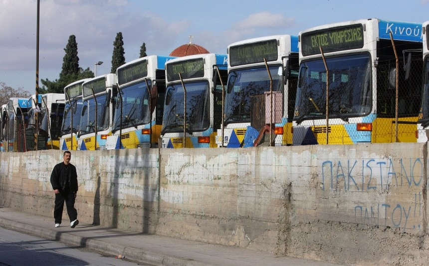 Public transport workers strike in Greece