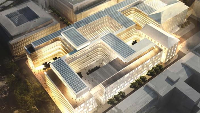 Die Grafik zeigt die geplante neue Siemenszentrale am Wittelsbacher Platz in München.