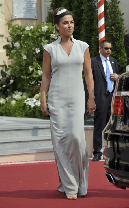 Maid of honour Donatella Knecht de Massy arrives for the religious wedding ceremony of Monaco's Prince Albert II and Princess Charlene in Monaco