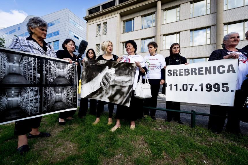 A demonstration against the war crime suspect former Bosnian Serb