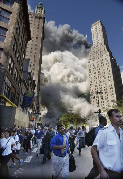 Explosion am Turm des World Trade Center, 2001