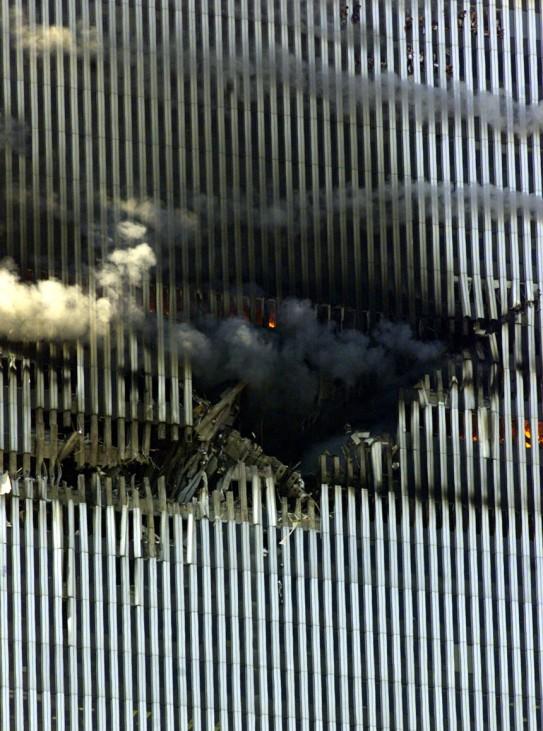 WORLD TRADE CENTER BURNS BEFORE COLLAPSE IN NEW YORK