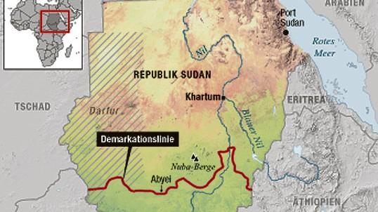 Südsudan, Karte