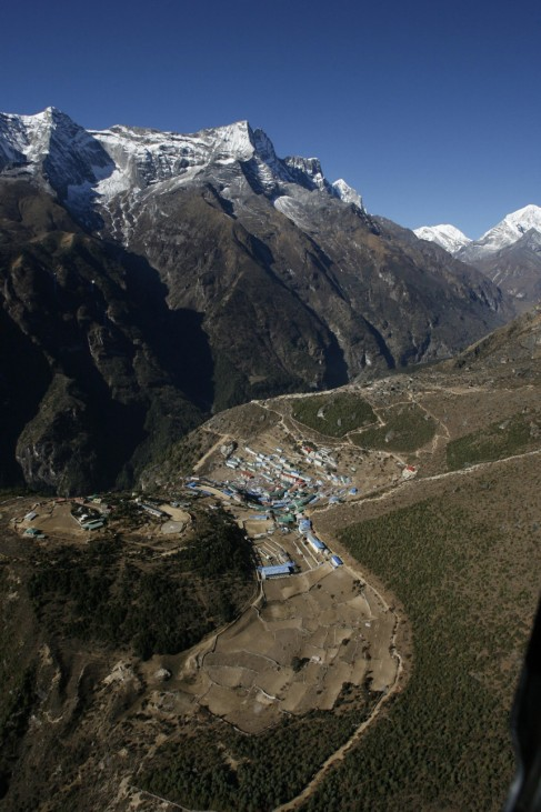 Aerial view of Namche Bazaar, the last town before the Everest region in Nepal