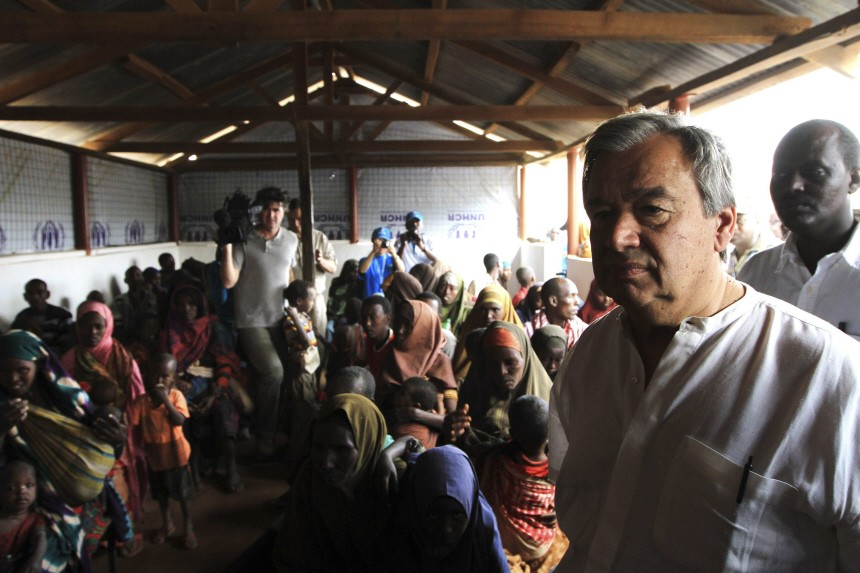 U.N. High Commissioner for Refugees Antonio Guterres walks at the Dagahaley camp, near the Kenya-Somalia border