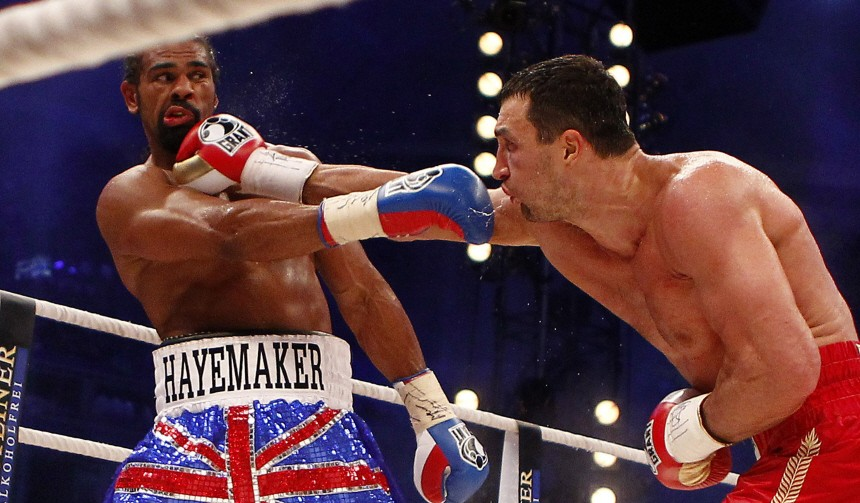 Ukrainian IBF and WBO titleholder Klitschko fights British WBA champion Haye in a heavyweight title unification boxing match in Hamburg