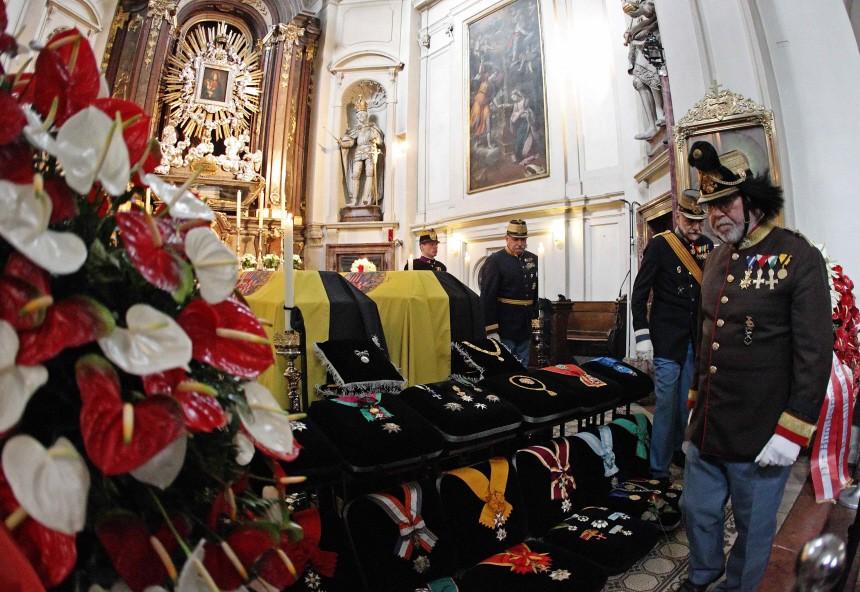 Coffins of Otto von Habsburg-Lothringen and his wife lie in state in Kapuzinerkirche church in Vienna