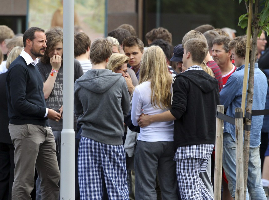 Norwegian Crown Prince Haakon and Queen Sonja visit survivors and family members at a hotel in Sundvollen, northwest of Oslo