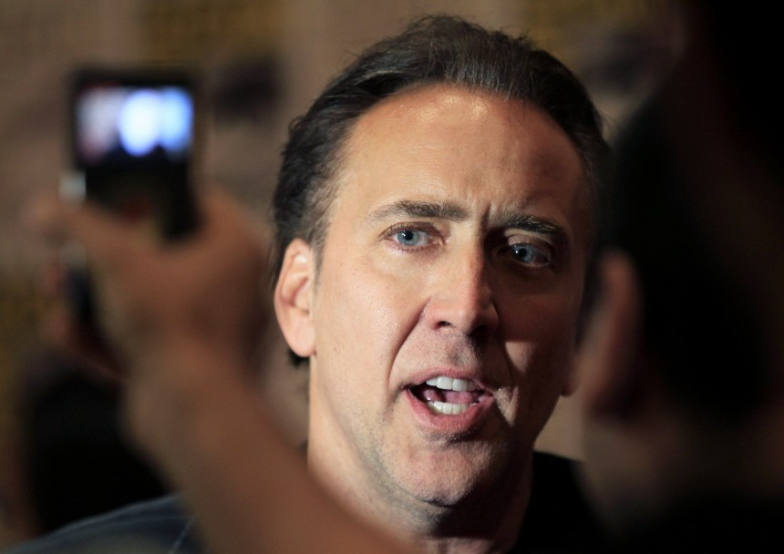 Actor Nicolas Cage is interviewed at Comic Con as he promotes his movie Ghost Rider 'Spirit of Vengeance' at the pop culture event in San Diego