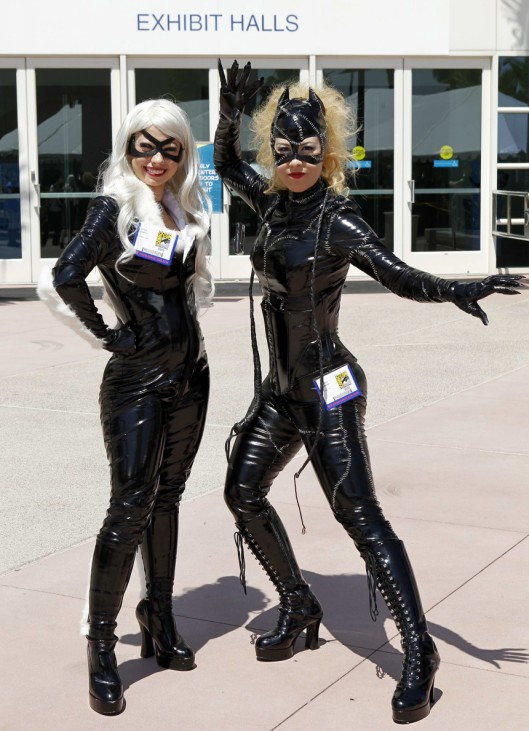 Comic Con attendees from Paris, Texas pose for a picture as they arrive at the pop culture event in San Diego