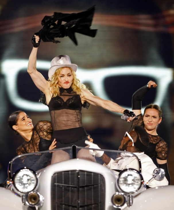 U.S. pop singer Madonna performs during her Sticky and Sweet Tour concert in Bucharest