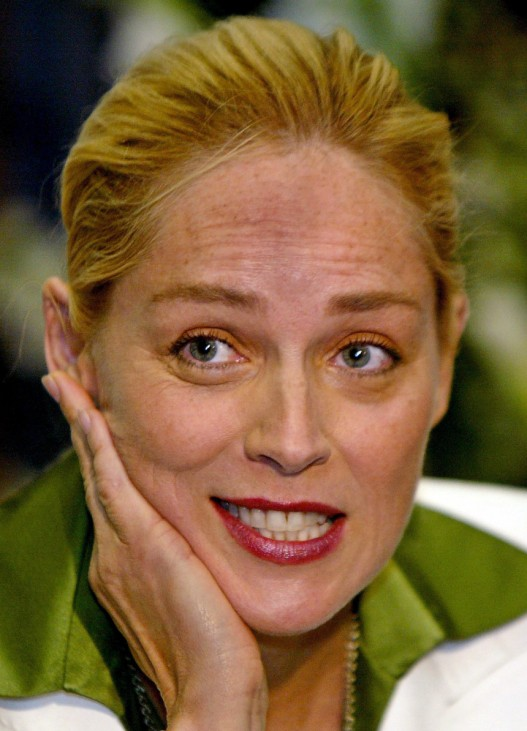 US actress Sharon Stone speaks during a news conference in Tel Aviv
