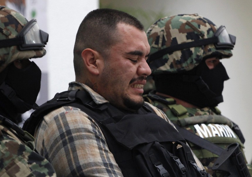 Suspected leader of the Zetas cartel Martin Estrada Luna is being presented to the media in Mexico City