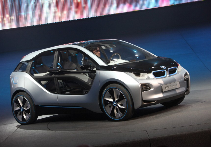 The 'BMW i3 Concept' of luxury carmaker BMW is displayed during a car presentation in Frankfurt