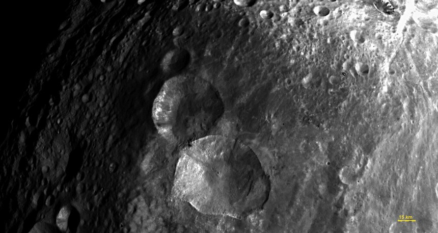 Handout photo of craters on the asteroid Vesta taken by NASA's Dawn spacecraft