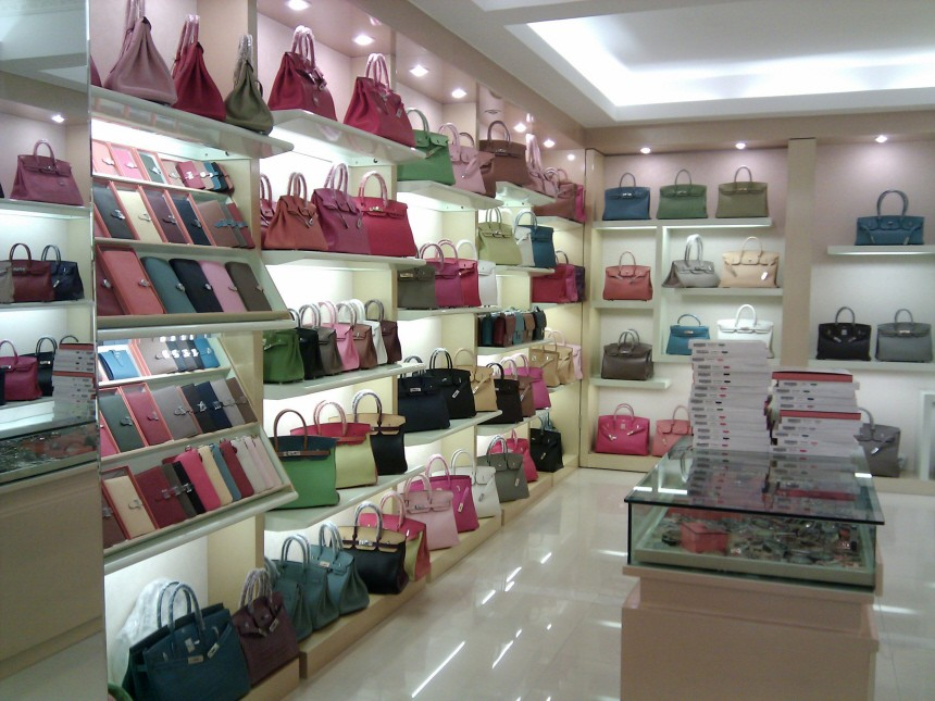 File photo shows fake foreign brand handbags inside a store at Baiyun World Leather Market in Guangzhou