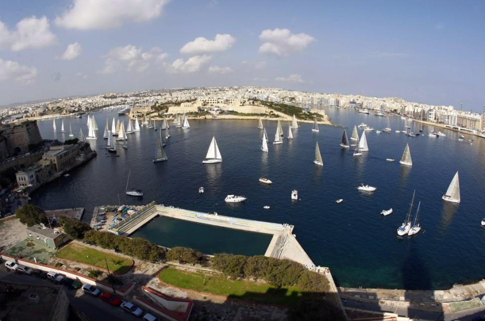 Rolex Middle Sea Race gets underway in Valletta's Marsamxett Harbour