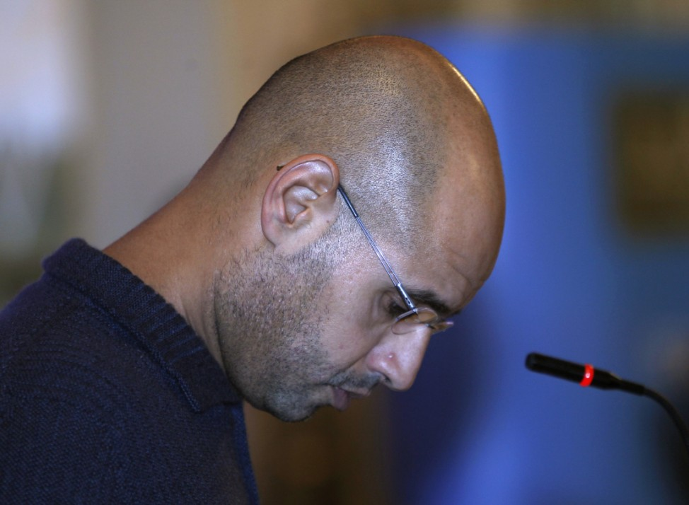 File photograph of Saif al-Islam Gaddafi, the son of Libyan leader Muammar Gaddafi, in Tripoli