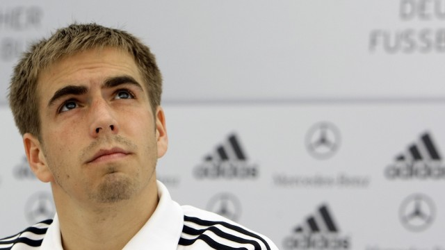 German national soccer player Lahm attends a news conference in the Italian town of Eppan