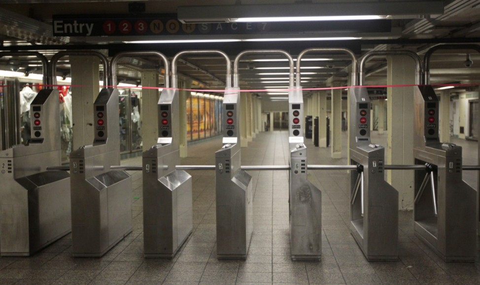 Tape blocks off an entrance to the Times Square subway station New York