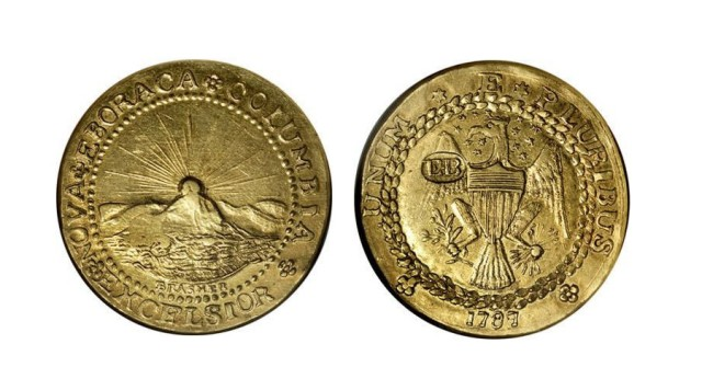 1787 DBLN Brasher New York Style Doubloon. EB Punch on Wing