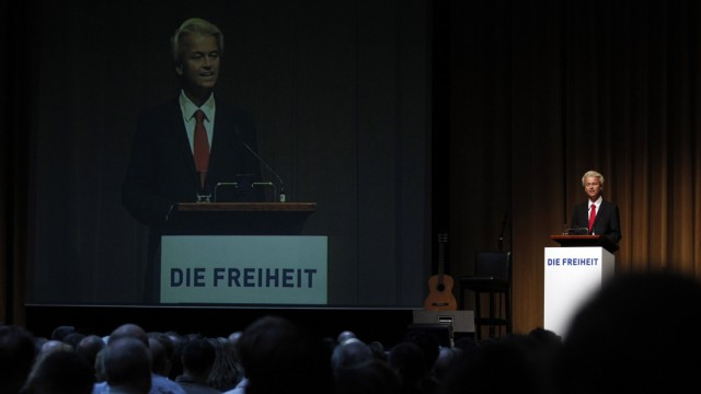 Dutch right-wing politician Wilders of Freedom Party delivers speech in Berlin
