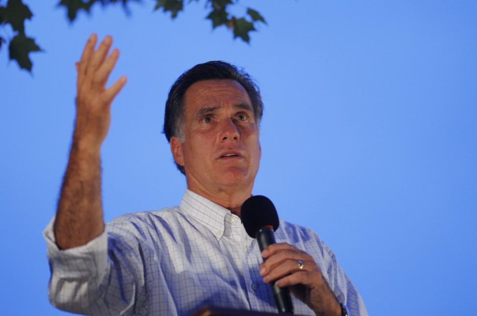 Republican presidential candidate and former Massachusetts Governor Romney speaks at a rally in Concord