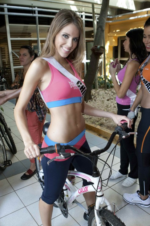 Miss Chile 2011 Vanessa Ceruti poses before a bicycle ride from Parque das Bicicletas to Ibirapuera Park in Sao Paulo