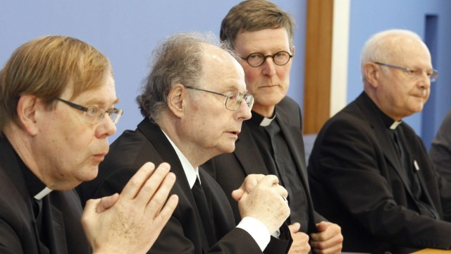 Head of the German Bishops' Conference Zollitsch Berlin's Archbishop Woelki Bishop of Erfurt Wanke and Langendoerfer address media in Berlin