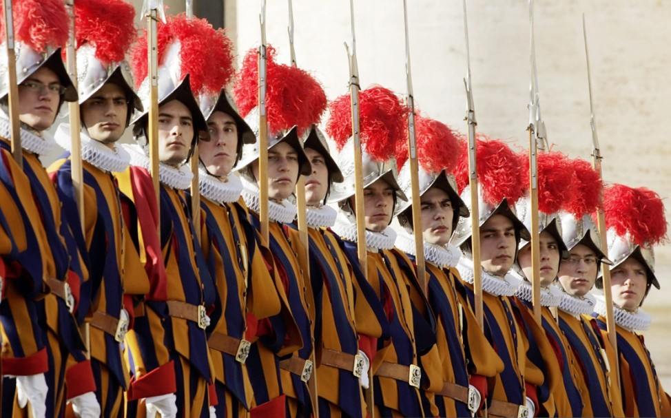 File photo of Swiss guards standing at attention in Saint Peter's square