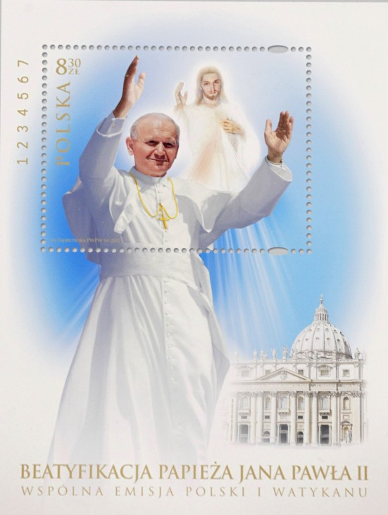 The special edition postage-stamp of the late Pope John Paul II, issued by the Poland and the Vatican for next his beatification, is pictured in the Vatican