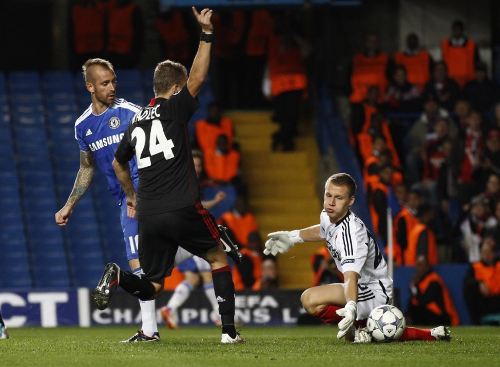 Chelsea's Raul Meireles scores against Bayer Leverkusen during their Champions League Group E soccer match at Stamford Bridge in London