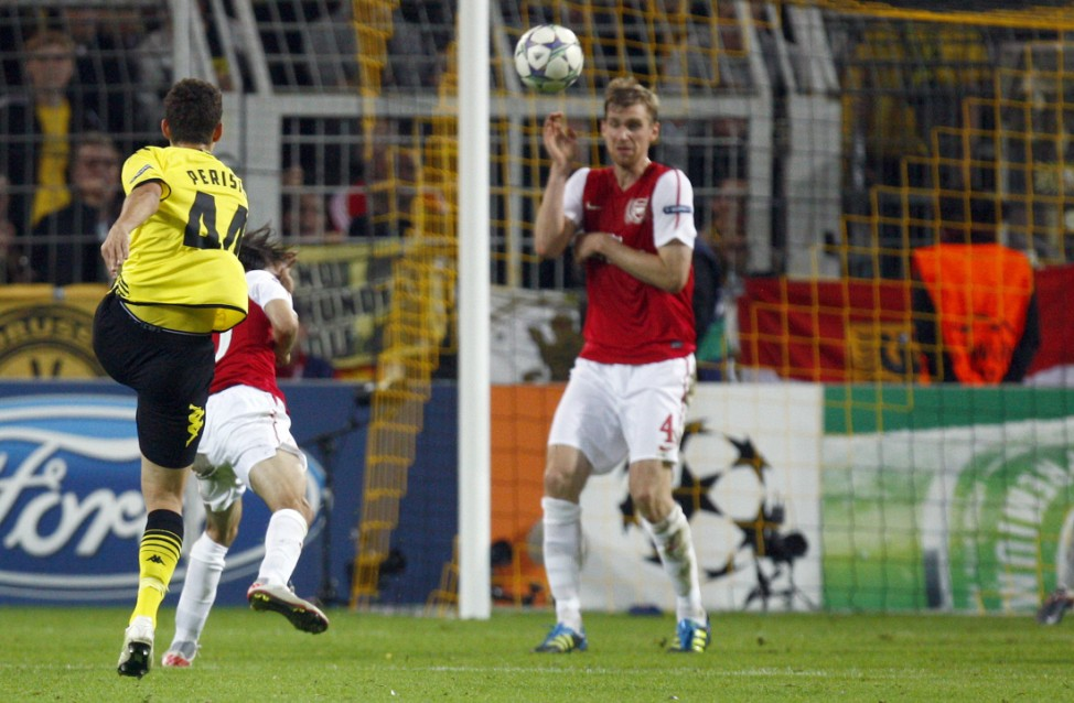Dortmund's Perisic scores goal during the Champions League soccer match against Arsenal in Dortmund