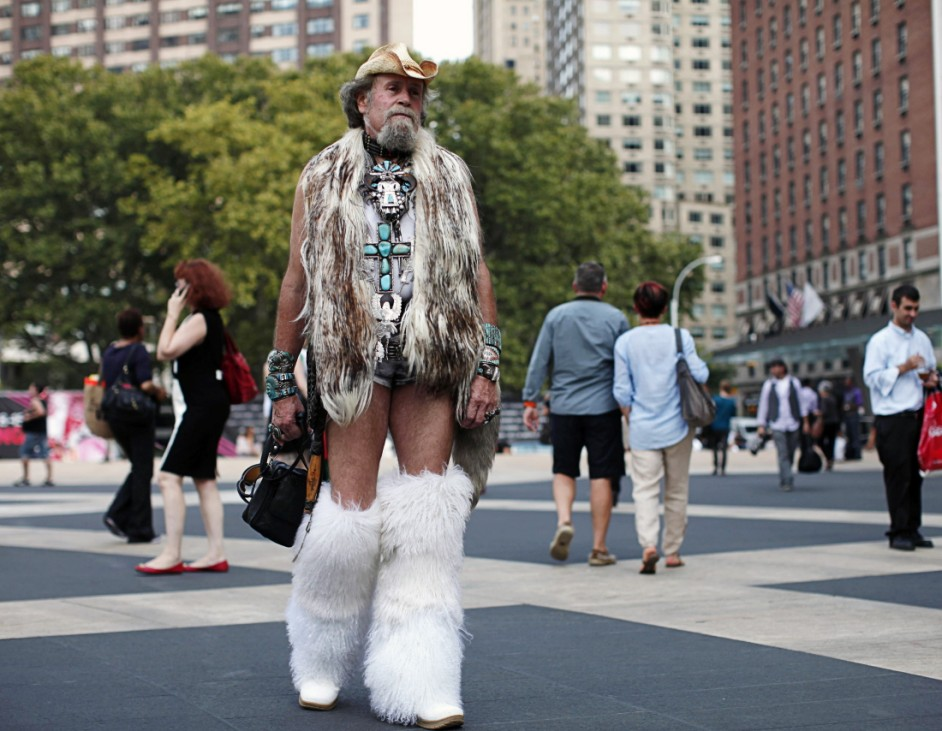 Schrhamm walks outside the Lincoln Center, the venue for New York Fashion Week