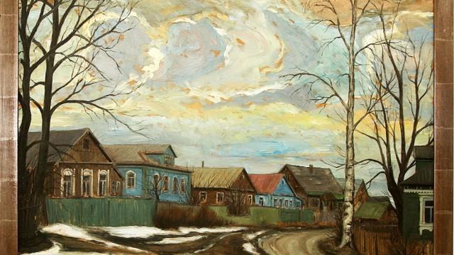 """Dachau: Das Bild """"Holzhäuser bei Sagorsk"""" von Maria Huber istin derAusstellung in der Volksbank-Raiffeisenbank zu sehen."""