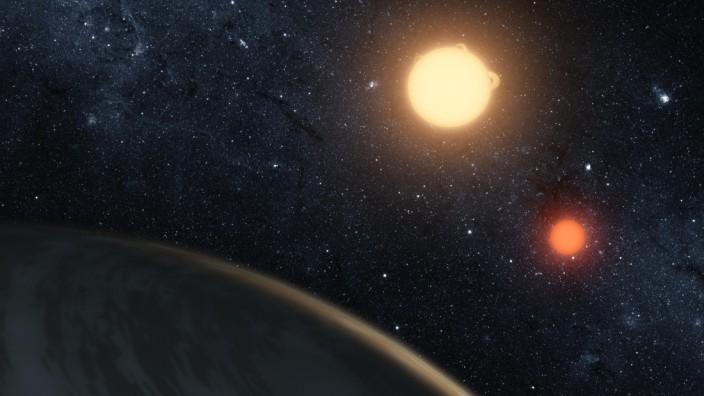 NASA artist's concept of the circumbinary planet Kepler-16b