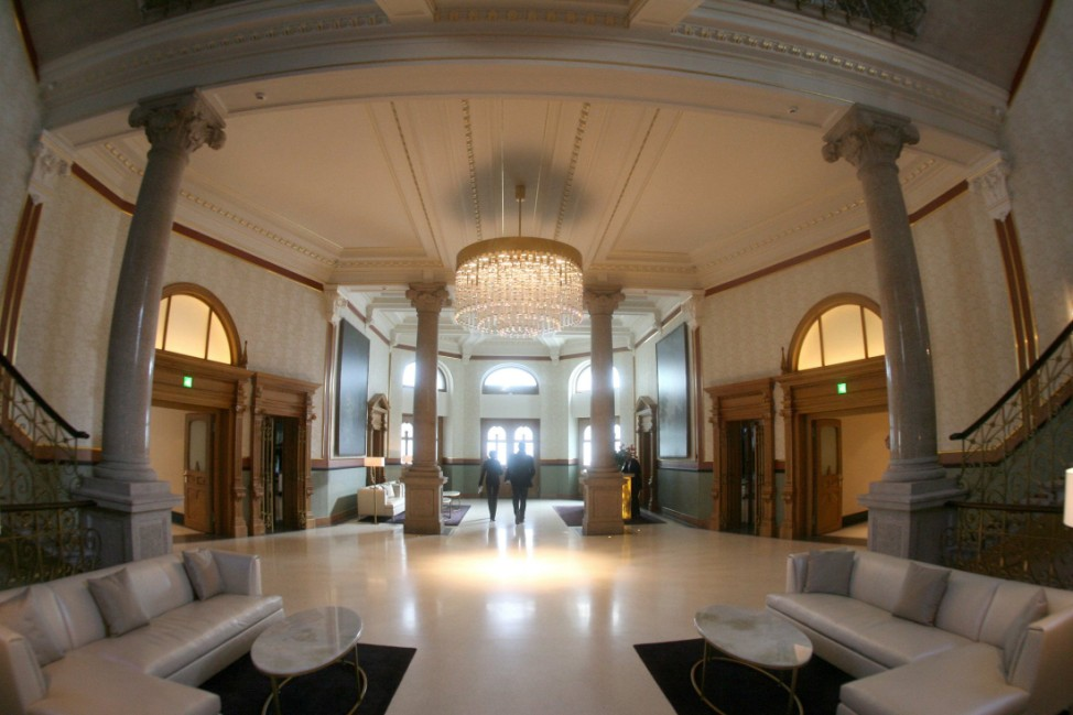 A general view shows the entrance hall of the Dolder Grand Hotel in Zurich