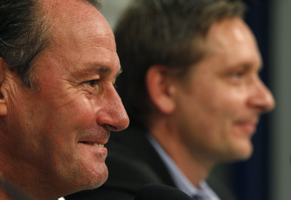 Schalke 04's new coach Stevens and manager Heldt address a news conference in Gelsenkirchen