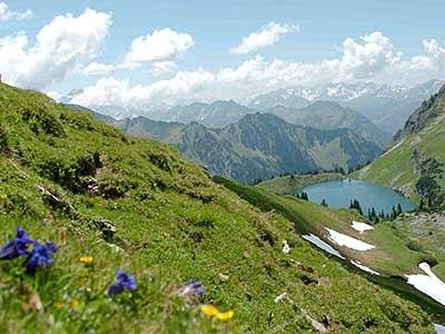 Über dem Seealpsee die Gipfel der Allgäuer Alpen, Herbke