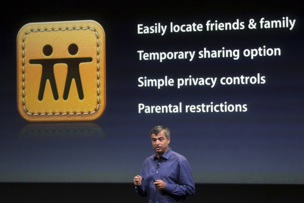 Eddy Cue, Apple's senior vice president of Internet Software and Services, speaks about the 'Find My Friends' app at Apple headquarters in Cupertino
