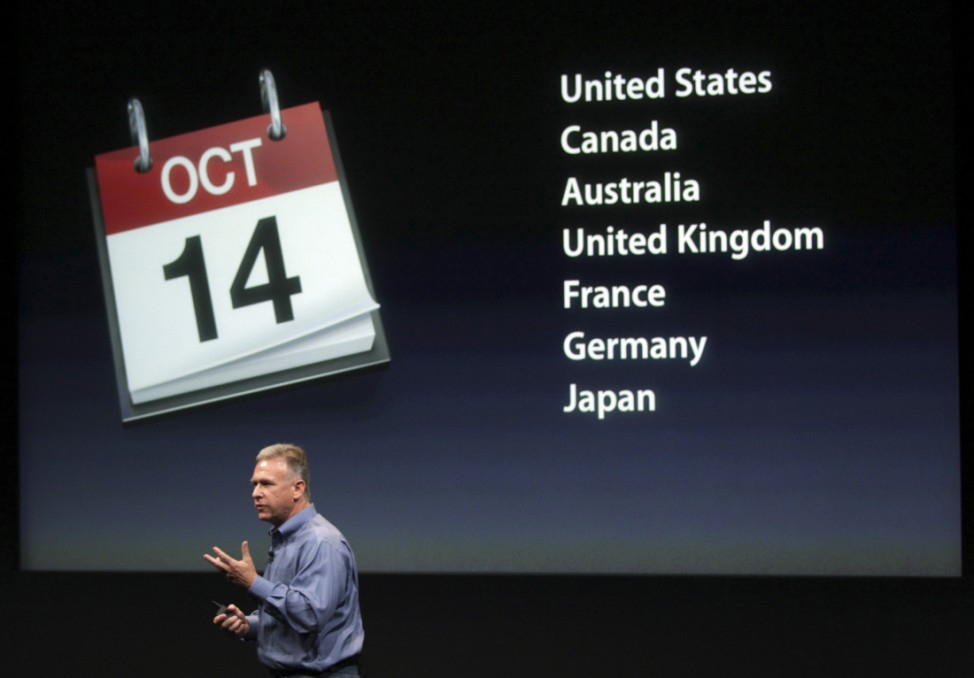 Philip Schiller, Apple's senior vice president of Worldwide Product Marketing, speaks about the iPhone 4S at Apple headquarters in Cupertino