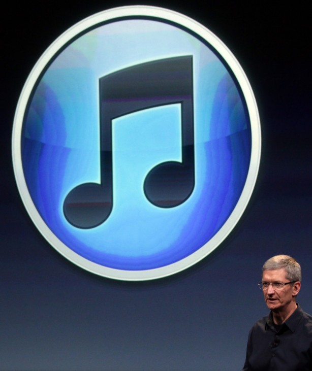 Apple CEO Tim Cook speaks about iTunes at Apple headquarters in Cupertino
