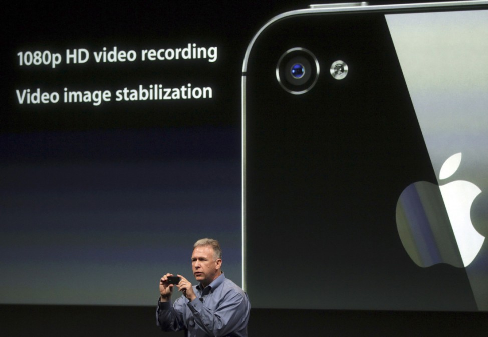 Philip Schiller, Apple's senior vice president of Worldwide Product Marketing, speaks about the HD video on the iPhone 4S at Apple headquarters in Cupertino,