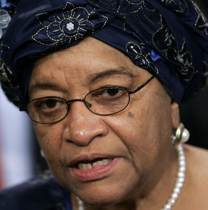 President of Liberia Johnson-Sirleaf speaks to media before addressing UN Security Council in New York