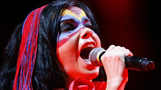 Icelandic singer Bjork performs during the 32nd Paleo Music Festival in Nyon