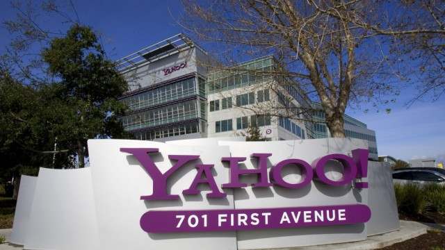 File photo of a Yahoo! sign sitting out front of their headquarters in Sunnyvale